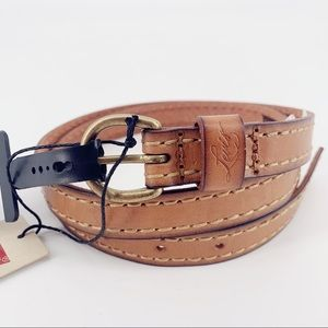 Levi's Classic Icon 90/36 Leather Brass Thin Belt
